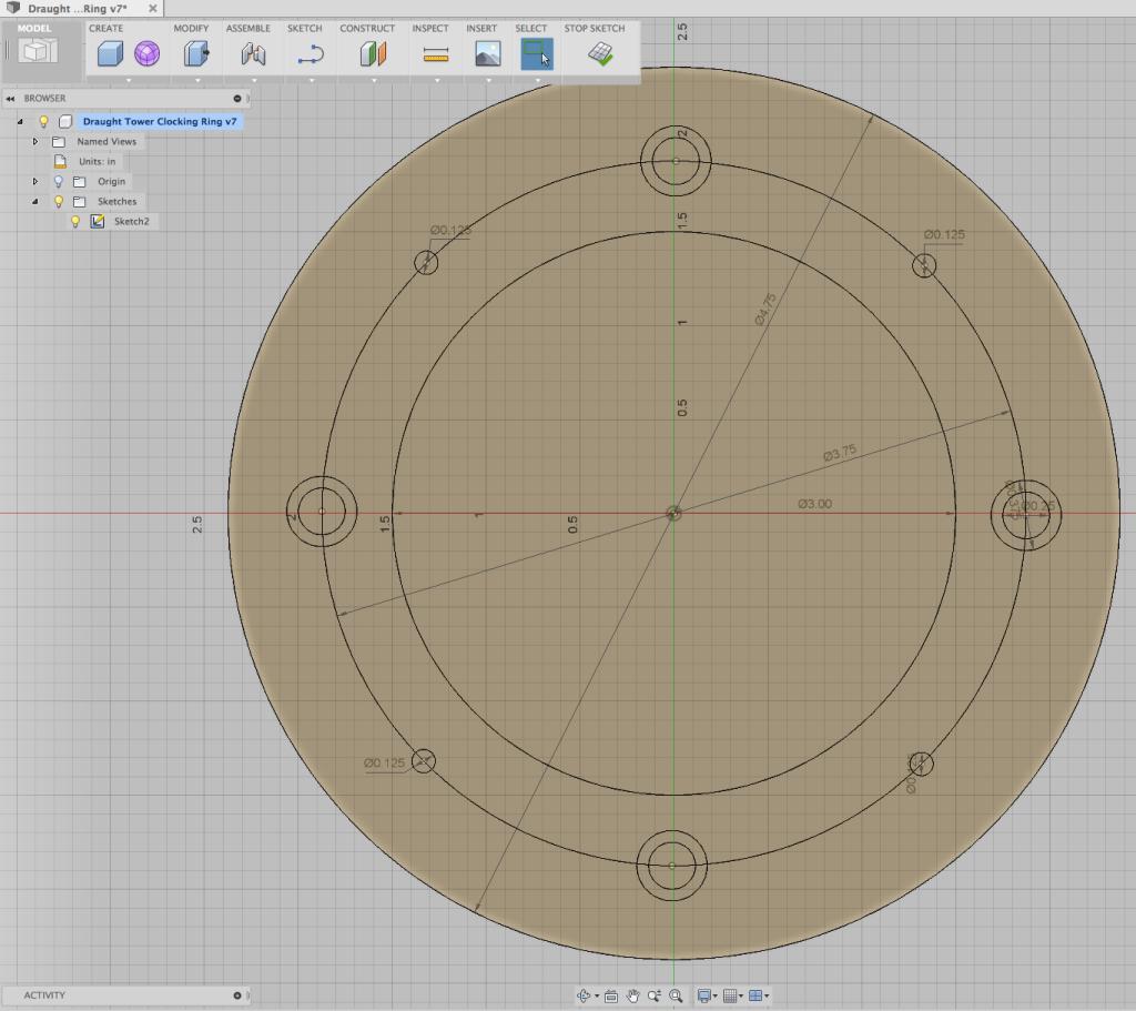Fusion 360 sketch of clocking ring